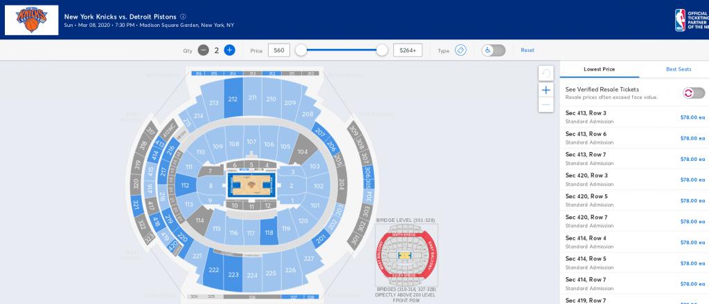 Distribución Madison Square Garden