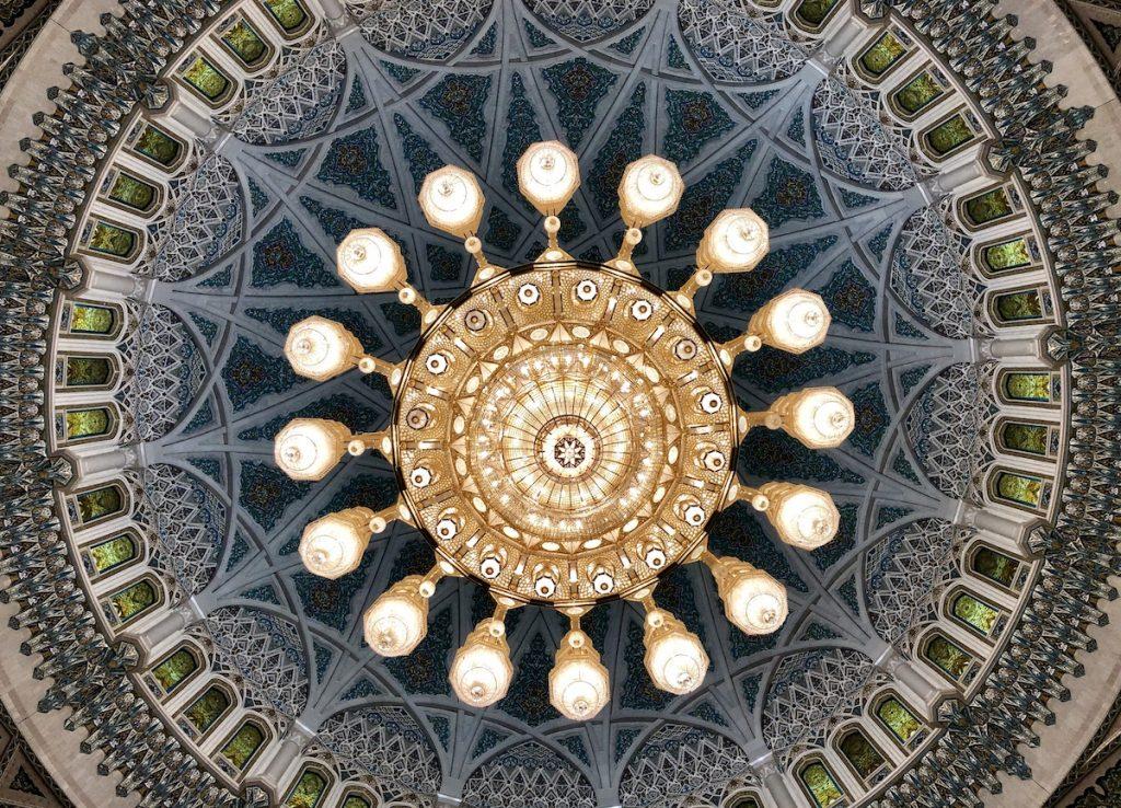Lampara interior mezquita Sultan Qaboos