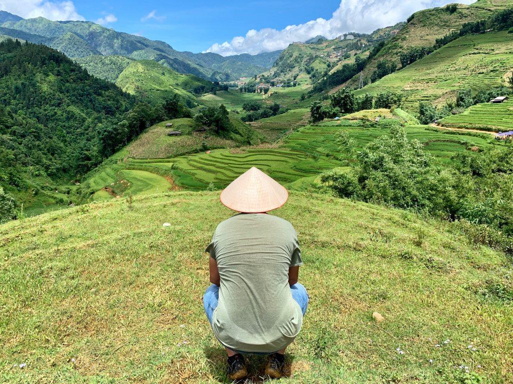 Yo entre los campos de arroz de Sapa